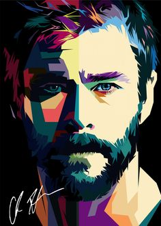 Chris Hemsworth detailed, premium quality, magnet mounted prints on metal designed by talented artists. Our posters will make your wall come to life. Pop Art Portraits, Portrait Art, Pop Art Posters, Poster Prints, Chris Hemsworth, Bruce Lee, Superhero Pop Art, Polygon Art, Jr Art