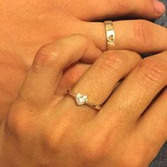 Couple Ring Set Promise Rings For Couples His And Her Promise Rings Promise Ring Wedding Ring Set Promise Ring Couple Rings Heart Couple Rings Gold, Engagement Rings Couple, Couple Jewelry, Solitaire Engagement, Wedding Engagement, Matching Promise Rings, Promise Rings For Couples, Matching Rings, Matching Jewelry For Couples