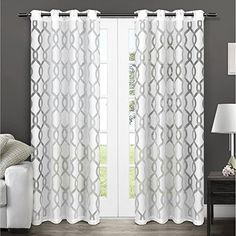 Exclusive Home Curtains Rio Sheer Window Curtain Panel Pair 52 x 108 White * Check out the image by visiting the link. (This is an affiliate link and I receive a commission for the sales)