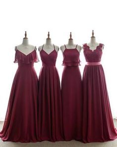 Sheath-Column V-Neck Natural Sweep-Brush Train Chiffon Sleeveless Open Back Bridesmaid Dress Sashes Cranberry Bridesmaid Dresses, Burgundy Bridesmaid Dresses, Bridesmaid Dress Styles, Burgundy Dress, Red Dress Outfit, The Dress, Ladies Dress Design, Fashion Week, Mantel
