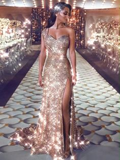 2019 One Shoulder Sequin Mermaid Evening Dresses Ruched Split Beaded Waistband Party Gowns Sweep Train Plus Size Prom Dresses Elegant Dresses, Pretty Dresses, Sexy Dresses, Beautiful Dresses, Fashion Dresses, Formal Dresses, Reception Dresses, Long Dresses, Casual Dresses