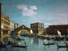 Giovanni Antonio Canaletto - Rialto-Brücke in Venedig Jean Antoine Watteau, Francesco Guardi, Venice Painting, Rialto Bridge, Italian Painters, Grand Canal, Art Reproductions, Painting Prints, Paintings