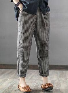 Buy Pants & Capris For Women at Popjulia. Online Shopping Casual Linen Striped P… - Hosen Mode Abaya, Mode Hijab, Fashion Pants, Fashion Outfits, Womens Fashion, Fashion Trends, Fashion Ideas, Ladies Fashion, Fashion 2018