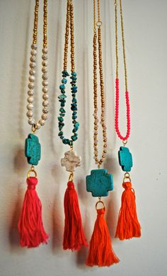 Turquoise Cross  Round White Beaded Tassel by MallyClaire on Etsy