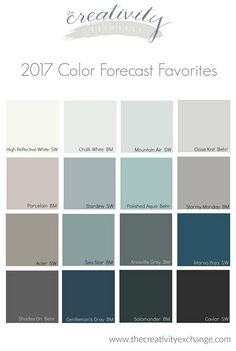 2017 Paint Color Forecast with spaces painted in these colors.