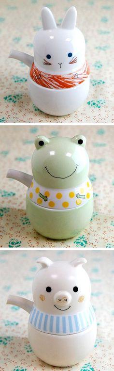 Adorable animal mini teapots / SHINZI KATOH