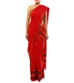 Red Zari Woven Handloom Cotton Saree #indianroots #ethnicwear #saree #cotton #zariwork #woven #handloom #summerwear #casualwear