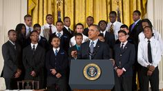 """President Barack Obama delivers remarks at an event to highlight """"My Brother's Keeper,"""" an initiative to expand opportunity for young men and boys of color, in the East Room of the White House, Feb. 27, 2014."""