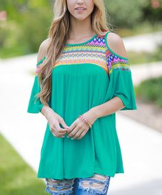 sun n moon Sage Green Geometric-Accent Shoulder-Cutout Top | zulily