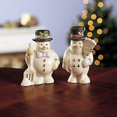 Snowman Salt & Pepper Shaker Set by Lenox Lenox Christmas Ornaments, Salt N Peppa, Pie Bird, I Love Snow, Salt And Pepper Set, Table Accessories, Salt Pepper Shakers, Tea Pots, Snowman