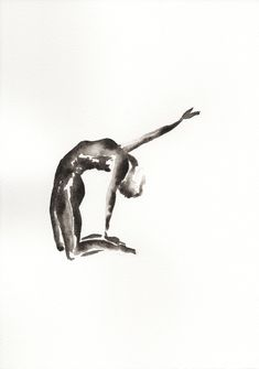 Yoga art | Original| Ustrasana | Camel pose | Black and white|  Watercolour Painting| A4 by Sybilleart on Etsy