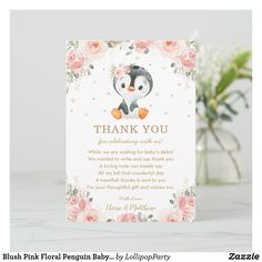 Blush Pink Floral Penguin Baby Shower Birthday Thank You Card
