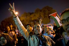Egyptians chant slogans against latest Israel airstrikes in Gaza during a protest in Cairo last week. In a televised speech Thursday, President Mohamed Morsi said Egypt will stand by the people of Gaza, and condemned Israel's airstrikes. | www.csmonitor.com | Photo: Bernat Armangue/AP
