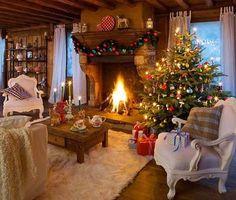 Cozy Cabin Christmas love this! Christmas Interiors, Christmas Living Rooms, Christmas Room, Christmas Scenes, Cozy Christmas, Little Christmas, Country Christmas, Christmas Photos, Christmas Feeling