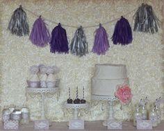 Shabby Chic Vintage Lilac/Lavender Grey Damask Polka Dot Personalize Baby Shower Printables. $37.50, via Etsy.