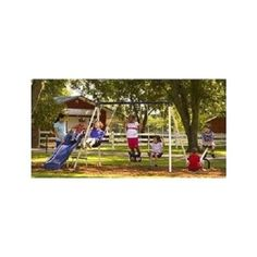 Swing Set Playset Slide Metal Playground Outdoor Kids Gym Patio Deck Backyard