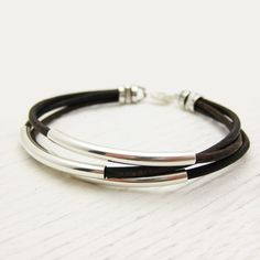 Antique Brown Leather & Sterling Silver Bracelet / by byjodi, $52.00