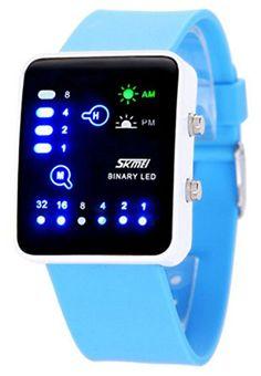 1fcdc365633f WUTONYU Binary Digital LED Waterproof Boys Girls Sport Casual Wrist Watches  Light Blue -- Please