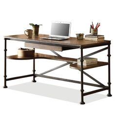 Riverside Camden Town Writing Desk with Optional Bookcases - Hampton Road Ash - Desks at Hayneedle