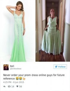 Teens are sharing prom dresses they regret buying online and it's Prom Dresses Online, Dresses For Teens, Dress Online, Grad Dresses Short, Formal Dresses, Prom Dress Fails, Kylie, Short Noir, Green Evening Gowns