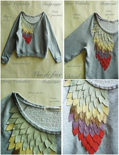 Dragon scale sweater embellishment - I'd like to try this with a soft t-shirt