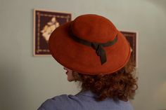 Vintage 1940s Hat Beautiful Autumn Rust Wool Felt Hat by FabGabs