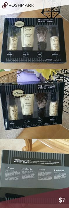 The Art of Shaving kit 4 piece shaving kit from The Art of Shaving. Comes with pre-shave oil, shaving cream, shaving brush and after shave balm, all unscented. These are sample sizes, does not come with razor. The Art of Shaving  Other