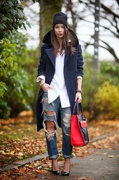 ripped boyfriend jeans, beanie, white shirt + oversized navy coat