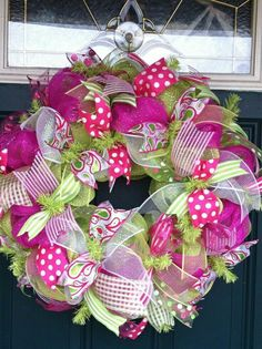 Pink and green ribbon deco mesh wreath