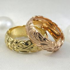 Hawaiian Hand Engraved 14K Gold Ring 6mm width by HappyLaulea, $310.00