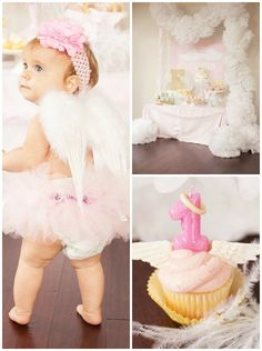 Little Angel 1st Birthday Party via Kara's Party Ideas .com #AngelParty #LittleAngel #PartyIdeas #FirstBirthdayParty #1stBirthday