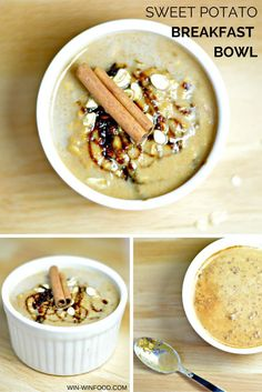 Sweet Potato Breakfast Bowl   WIN-WINFOOD.com The thick and filling porridge is infused with cinnamon, vanilla and a hint of caramel from iron-rich molasses. #vegan #cleaneating #healthy #glutenfree