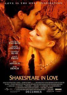 Shakespeare In Love starring Gwyneth Paltrow, Joseph Fiennes. Watched May TCM. Joseph Fiennes, Shakespeare In Love, William Shakespeare, Films Cinema, Cinema Posters, Judi Dench, Colin Firth, Gwyneth Paltrow, Old Movies