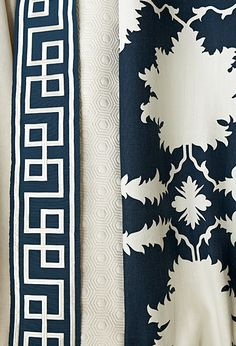 Mary McDonald for F. Schumacher perfect for  my clients new draperies in their navy and white scheme master bedroom!