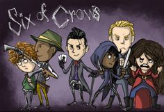 """handbaskethell: """"So this monstrosity took up a few days of my inktober drawing time (I'm a busy woman). No regrets. The Six of Crows crew drawn Don't Starve style. I thought it was fitting. Nina makes me laugh every time I look at this. RAEG (took up..."""