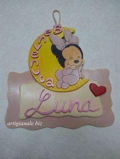 Annuncio nascita fiocco dietroporta - Targa legno cameretta bimbi  - Idea regalo