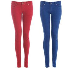 NEW WOMENS AW12 SEXY FITTED ULTRA SOFT SUPER SKINNY TWILL JEANS BLUE RED