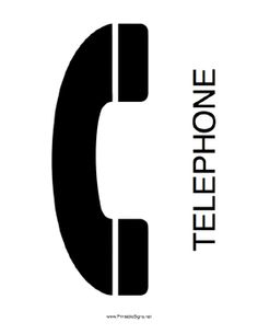This printable sign announces the availability of a telephone. Free to download and print