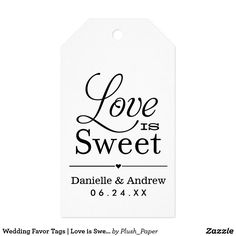"""Wedding Favor Tags   Love is Sweet - Black Wedding favor tags feature a """"Love is Sweet"""" black text design with heart divider and custom monogram design that includes the bride and groom names and wedding date. Modern diagonal stripes dress up the back of the card. The white background color can be customized to coordinate with your wedding color scheme."""