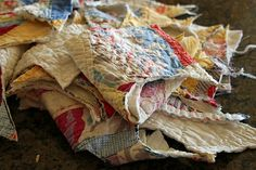 what to do with tattered vintage quilt scraps..you really hate to cut them up, but when they become really tattered..it's a way of making items so many people can enjoy..