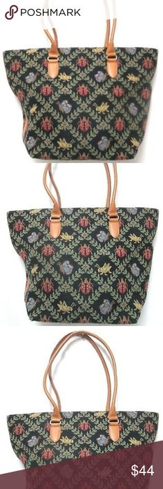 Talbots tapestry leather Vintage Lady Bug Purse Talbots purse in mint condition, inside has a couple of stains. Tapestry and leather, button closure, zip compartment. Pet and smoke free home. Thank You. Talbots Bags Totes