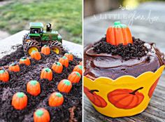 a pumpkin patch dirt cake! most creative thing I've ever seen!