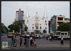 Another sight opposite Sule Pagado is Emmanuel Baptist Church, one of the oldest churches in Yangon. Myanmar (Burma) Travel Photobog. Join us on our journey:  www.myanmartravelessentials.com Like us on Facebook: www.facebook.com/myanmartravelessentials