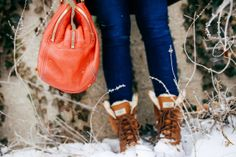 red J.Crew tote & Ugg Adriondack II boots