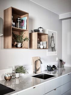 wooden boxes for a wall storage in kitchen