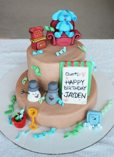 Blues Clues cake- I would just change the color of the body. I don't like the beige 2 Birthday Cake, 18th Birthday Party, Birthday Ideas, Clue Party, Cake Shapes, Blues Clues, Character Cakes, Edible Art, Amazing Cakes