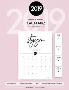 Kalendarz do druku 2019 - darmowy do pobrania Quilling, Bujo, Back To School, Bullet Journal, Organization, How To Plan, Prints, Diy, Notebook Ideas
