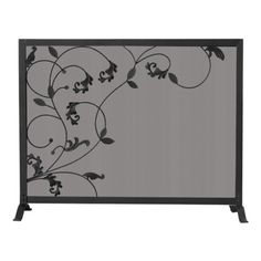 Uniflame hearth accessories are a great way to spruce up your fireplace. This single panel black wrought iron screen protects you from fire, sparks and fireplace ash. The flowing leaf design completes the elegant look of this wide fireplace screen. Wrought Iron Fireplace Screen, Decorative Fireplace Screens, Stone Fireplace Surround, Black Fireplace, Fireplace Ideas, Gas Fire Table, Traditional Fireplace, Iron Furniture, Black Screen