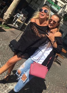 Actresses Giorgia Marin and Ludovica Coscione were seen in Naples on August 9, 2016.