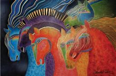 Horses of color...  This beautiful artwork is by Laurel Burch